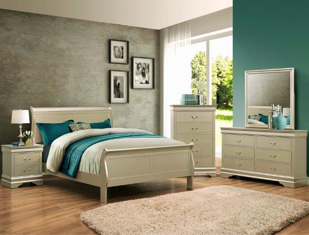 Louis Philip Champagne 7 Piece Queen Bedroom Set (With Mattress Set)