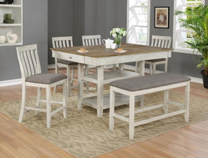 Nina Counter Height Table with 6 Chairs Crown Mark