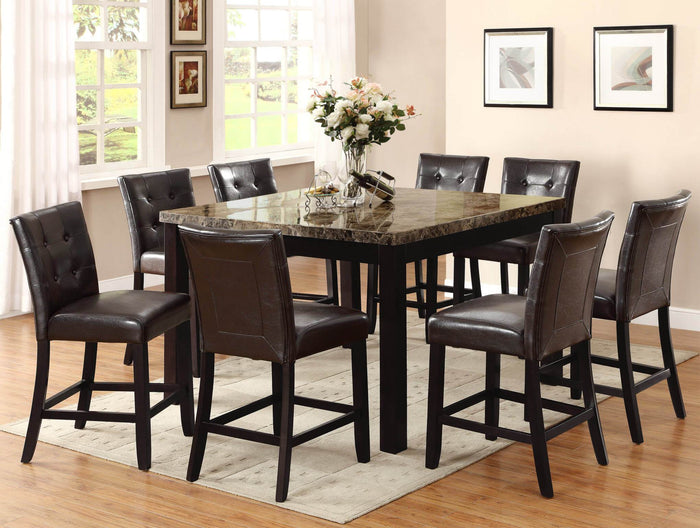 Bruce Marble Counter Height Table with 6 Chairs