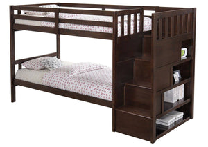 Twin/ Twin Stairs Brown Bunk bed (With Mattresses) - United Furniture Outlet