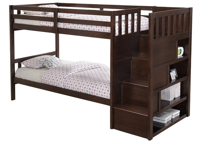Twin/ Twin Stairs Brown Bunk bed