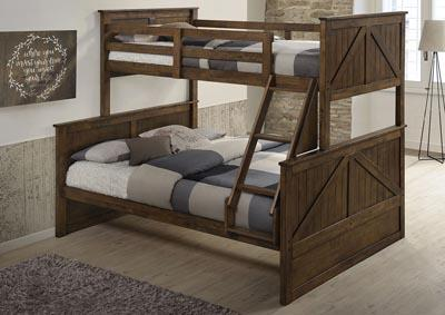 Twin/Full Barn Style Brown Bunk bed (With Mattresses)