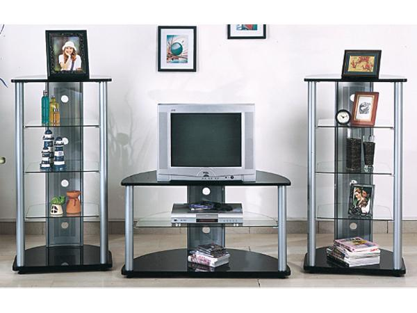 Tri Star Silver and Black Entertainment Center