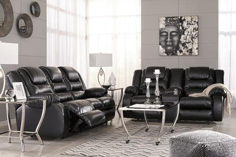 Vacherie Black Recliner Sofa and Loveseat
