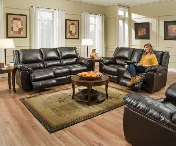 Bingo Brown Recliner Leather Sofa and Loveseat