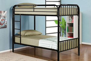 Full/ Full Metal Black Bunk bed (With Mattresses) - United Furniture Outlet