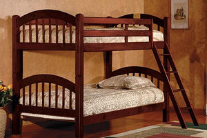 Twin/Twin Brown Wood Bunk bed (With Mattresses) - United Furniture Outlet