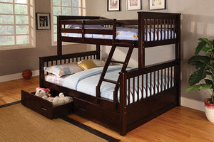 Twin/ Full Espresso Brown Bunk bed (With Mattresses) - United Furniture Outlet