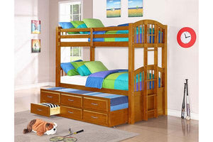 Twin/Twin Oak Bunk bed with Trundle and Storage (With Mattresses) - United Furniture Outlet
