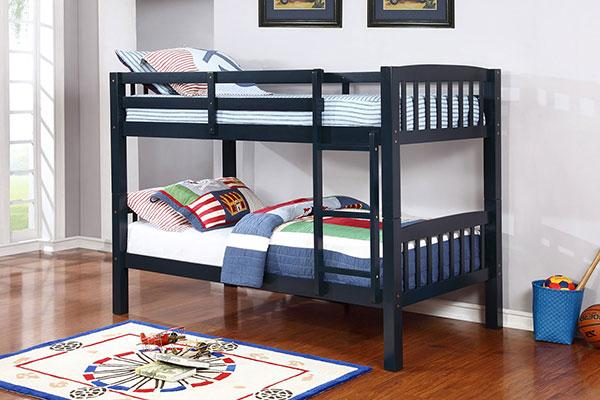 Twin/Twin Dark Blue Bunk bed  (With Mattresses)