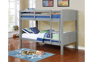 Twin/Twin Grey Bunk bed  (With Mattresses) - United Furniture Outlet
