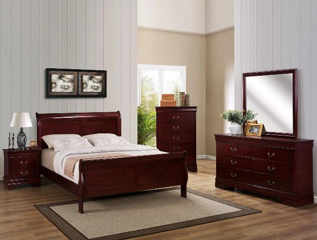 Louis Philip Brown 7 Piece Queen Bedroom Set (With Mattress Set)