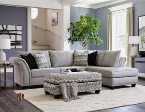 Avanti Platinum Sectional with Ottoman - United Furniture Outlet