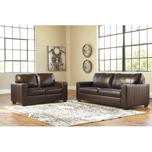 Morelos Chocolate Sofa and Loveseat (Leather)