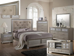 Lila Gold Piece King Bedroom Set - United Furniture Outlet