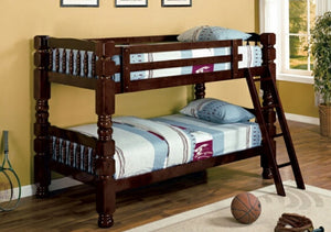 Twin/Twin Brown Espresso Wood Bunk bed
