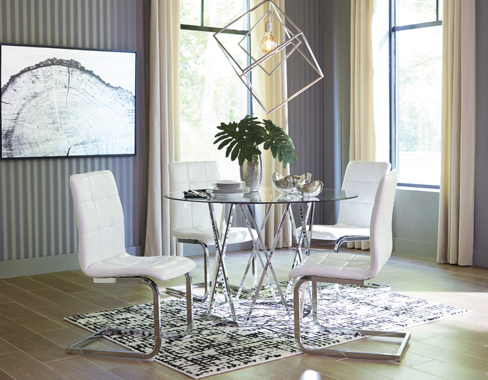 Madanere Glass Table with 4 Chairs