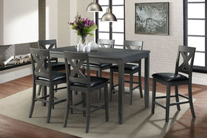 Alex Grey w/ Black PU Counter 6 chairs - United Furniture Outlet