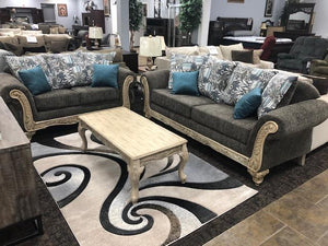 Green Grey Sofa and Loveseat - United Furniture Outlet