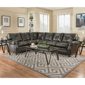 Lucky Marble Leather Espresso Sectional