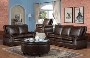 Bronze Nail Head Brown Sofa and Loveseat - United Furniture Outlet