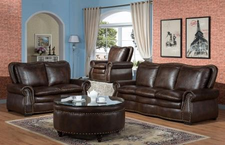 Bronze Nail Head Brown Sofa and Loveseat