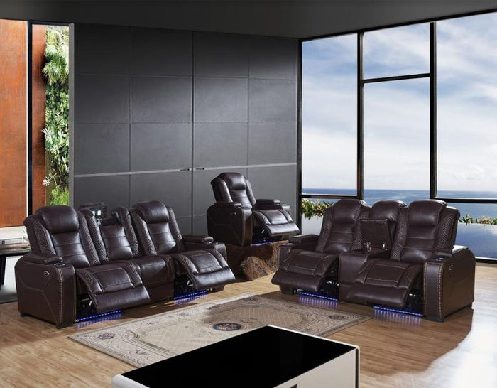Infinity Brown Leather Air Power Reclining Sofa and Loveseat