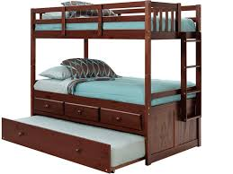 Twin/Twin Brown with Trundle and Storage Bunk bed  (With Mattresses)