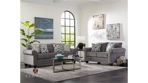 Crossing Smoke Grey Sofa and Loveseat Living Room Albany