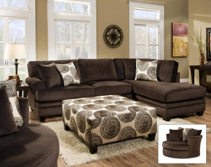 Winfrey Chocolate 3pc Sectional