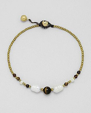 Tiger eye and pearl anklet by Kesley, Girlwith3jobs