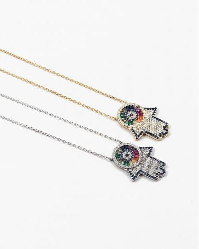 Colorful Sparkly Hand Necklace