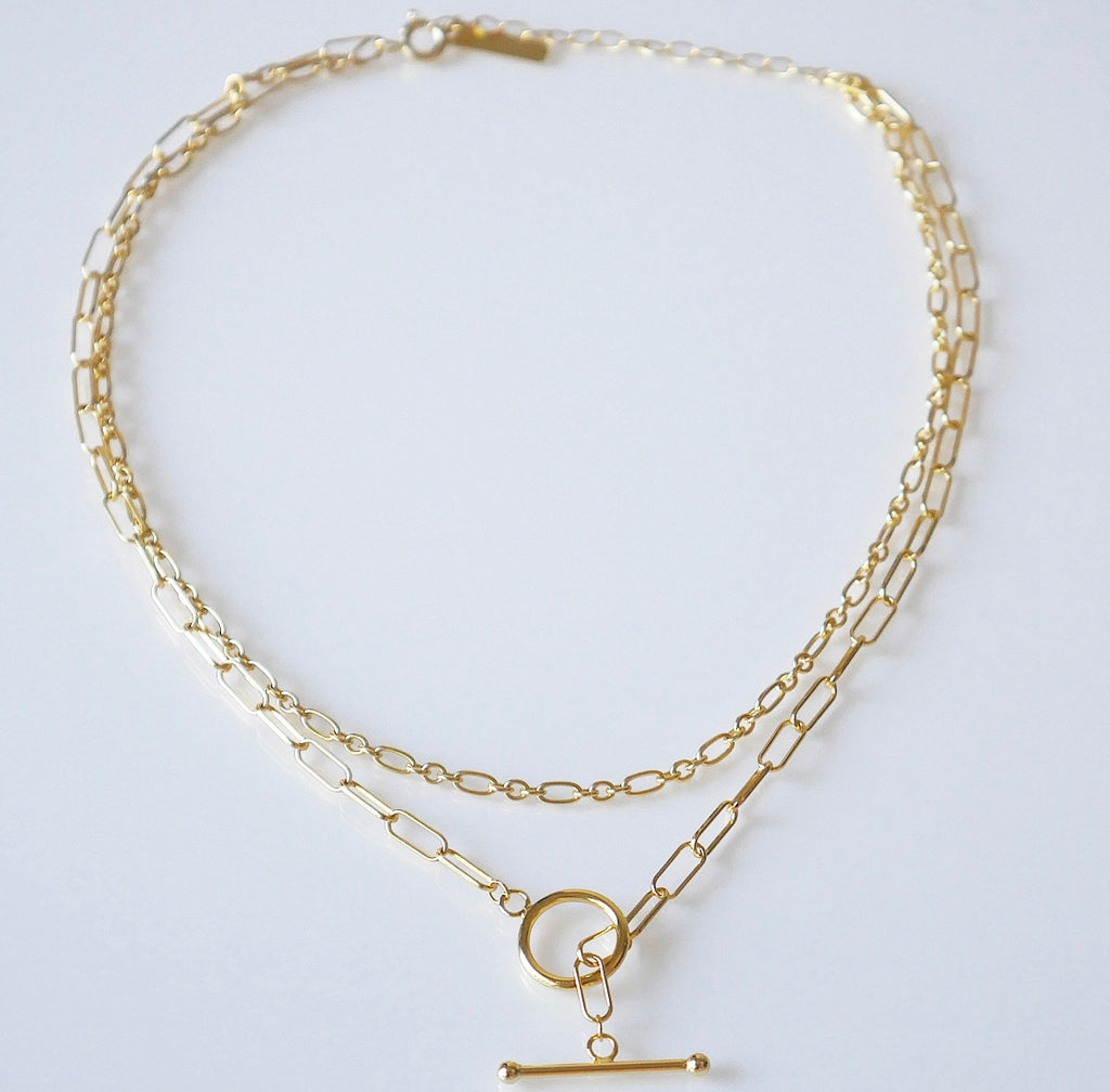 Double Link Chain Short Necklace