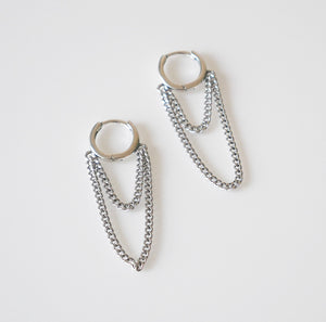 Chain Down Metal Small Hoops Earrings