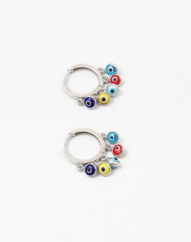 Little Colorful Eyes Charm Hoop Earrings