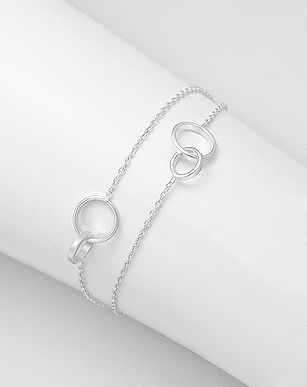 Circle interlocking dainty bracelet, Sterling Silver, by Kesley