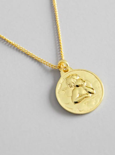 Gold Angel Coin necklace by KesleyBoutique.com, Girlwith3jobs, Sterling Silver Angel Coins Necklace, Gift Ideas, Gifts for her, Jewelry, Popular Necklaces, Coin necklace