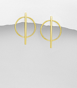 Circle bar earrings in Sterling Silver by Kesley