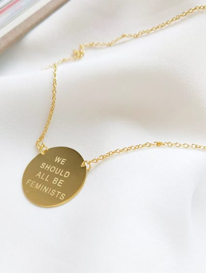 """We should all be Feminist"" quote necklace.  by Kesley, Girlwith3jobs"