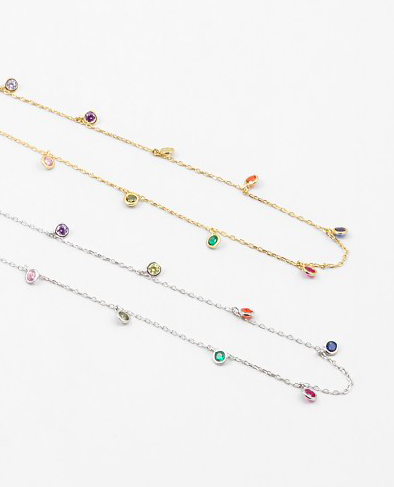 Rainbow choker necklace, multicolor necklace by Kesley, KesleyBoutique.com, Girlwith3jobs, Girlwith3jobs.com, Delicate necklace, trendy, trends, jewelry trends 2019, gifts for her, influencer, blogger, streetstyle, shop jewelry, choker, choker necklace, colorful choker*