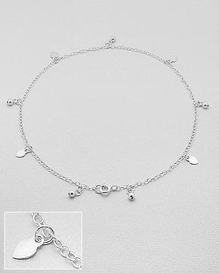 Heart foot bracelet, Anklet in sterling silver by KesleyBoutique.com, Girlwith3jobs.com
