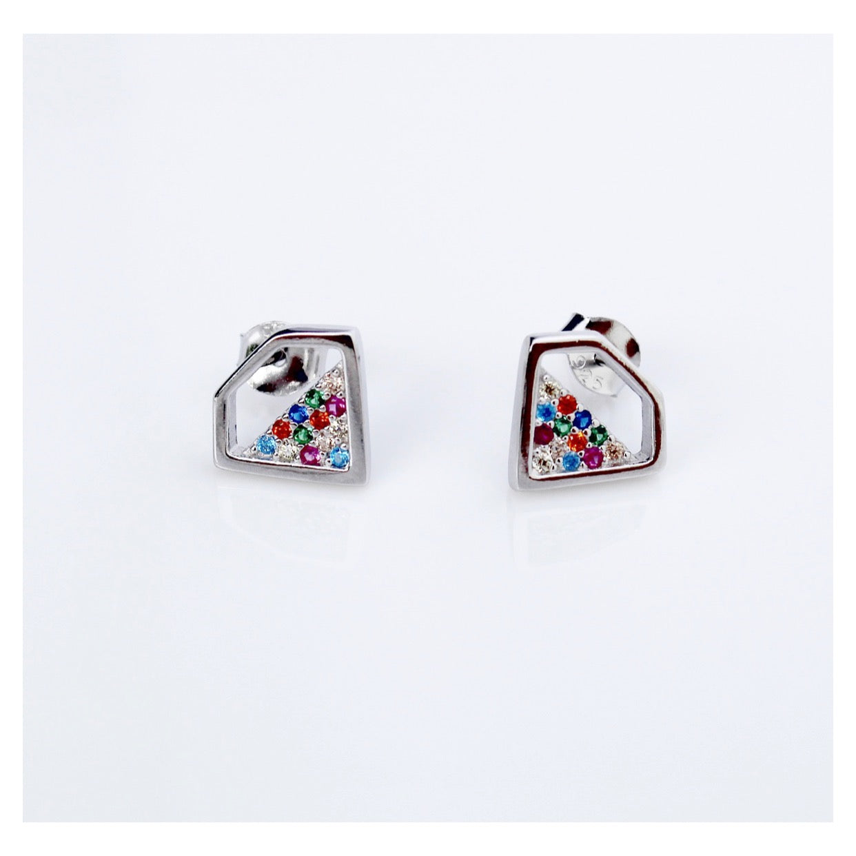 Colorful Stud Earrings, Rainbow Diamond Earrings by Kesley Boutiuqe, KesleyShop.com, Kesleyshop, Girlwith3jobs, Girlwith3josb.com, stud earrings, pushback earrings, colorful earrings, rainbow earrings, trendy earrings, trendy jewelry, influencer jewelry, earrings, gifts for her, college gifts, soroty gifts, holiday gifts, christmas gifts, fashion, style, new jewelry, buzzfeed