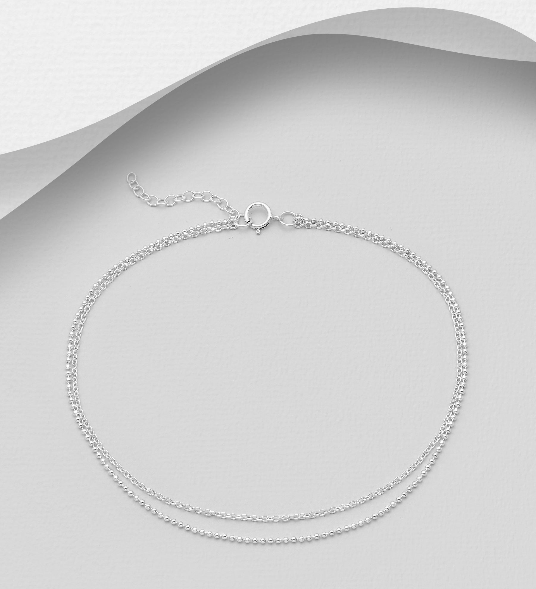 Double chain boho anklet in sterling silver by KesleyBoutique.com, Girlwith3jobs.com, foot jewelry, gifts for her, vacation jewelry