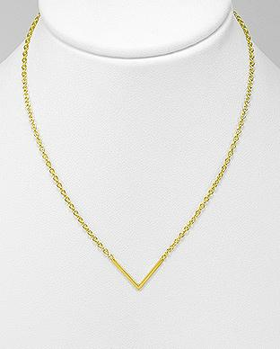 Gold Triangle Dainty Necklace in Sterling Silver by Kesley Boutique
