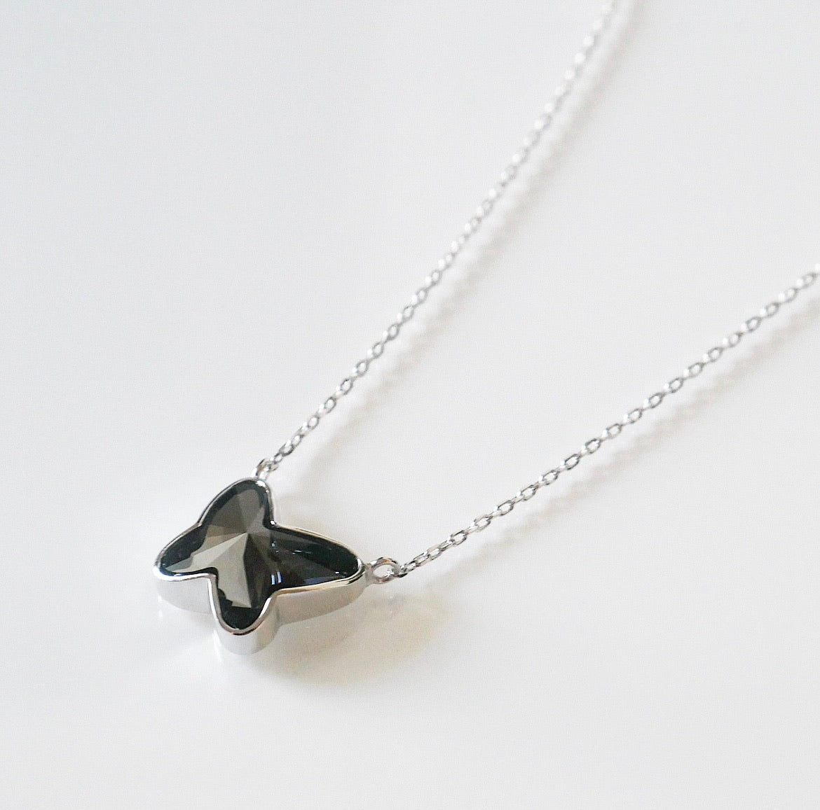Midnight Butterfly Crystal Necklace