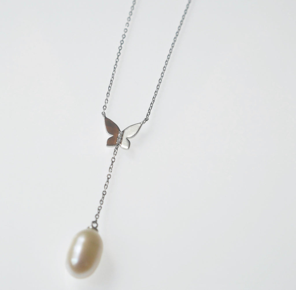 Butterfly Pearl Lariat Necklace.