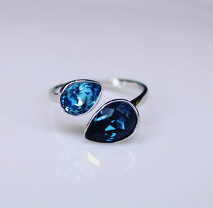 Blu Double Swarovski Crystal Ring.