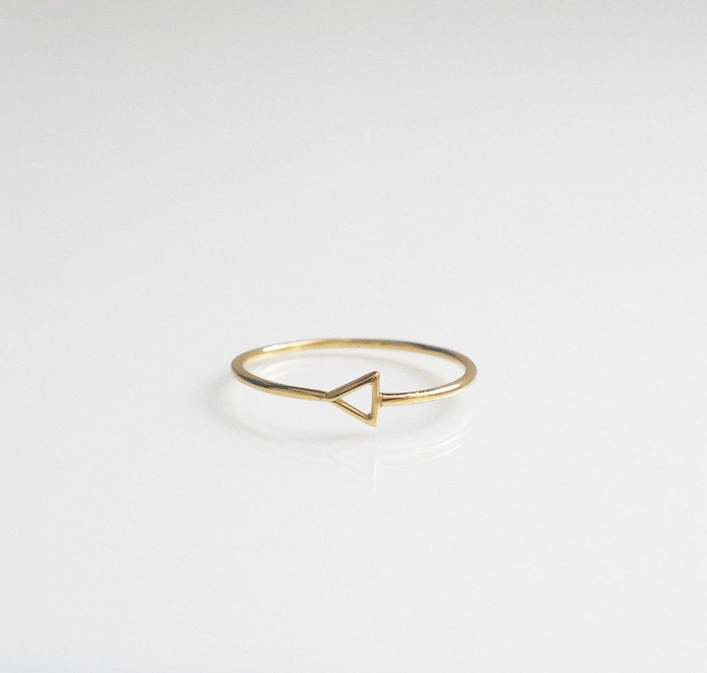Gold triangle ring by KesleyBoutique.com, Girlwith3jobs.com, Dainty gold ring, dainty triangle gold ring, jewelry in Miami, Jewelry store, trendy rings, stackable gold ring,  gold rings, gold rings, jewelry gifts, cute jewelry, gold ring, sterling silver triangle ring