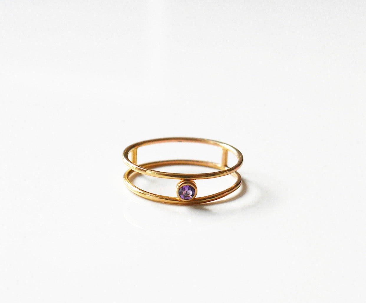 Double Wire Amethyst Ring, Double amethyst ring, dainty amethyst ring