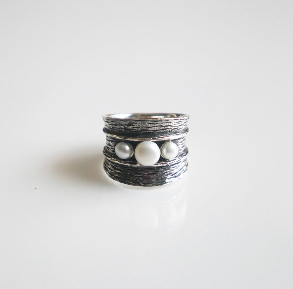 Pirate Pearl Oxidzied Chunky Ring